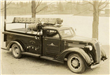 Black Fire Truck in Sepia Tone